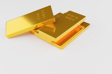isolated gold bar on white background