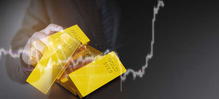 Stack of gold bars. financial concept, 3D illustration rendering