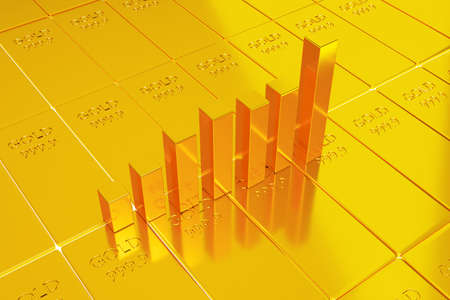 Investing in gold stocks, gold trading concept, 3d illustration rendering