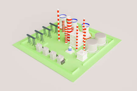 3d nuclear power plant factory, 3d illustration rendering