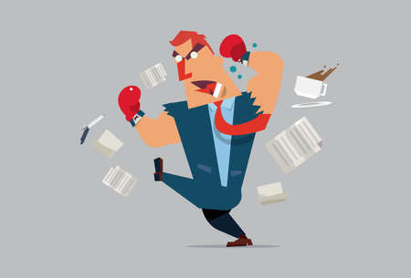 angry boss - business man - employee - Vector illustration of cartoon Vector