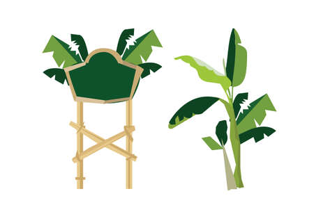 Banana sign - banana tree Illustration