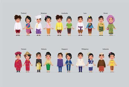 asean character - vector illustration