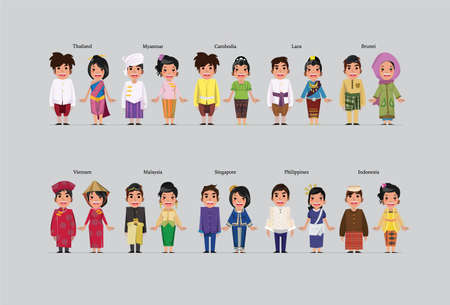 singapore culture: asean character - vector illustration