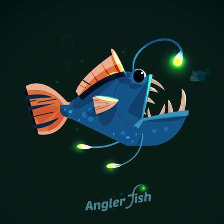 sea fish: angler fish. character design - vector illustration