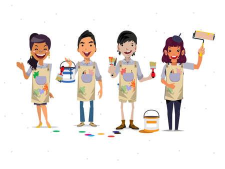 painters: Painter team - vector illustration