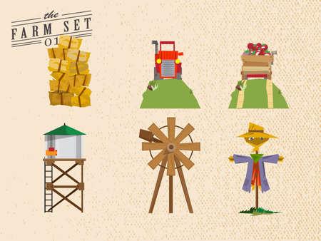 rick: Farm set - vector illustration