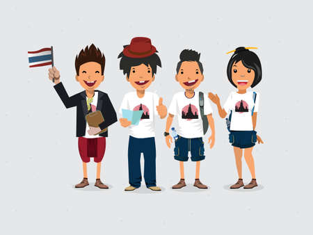 tour guide: Guide and Tourists. thailand - vector illustration Stock Photo