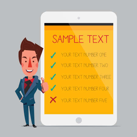 smart man: Smart man with tablet. background. - vector illustration