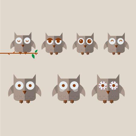 awake: owl character. awake concept - vector illustartion Stock Photo