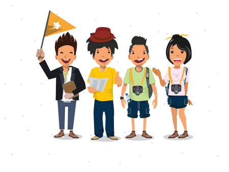 tour guide: Tourists and guide - vector illustration