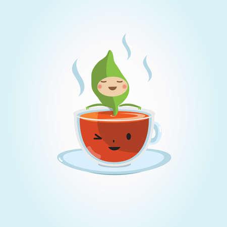 character design: tea cup with tea leaf. character design - vector illustration Foto de archivo