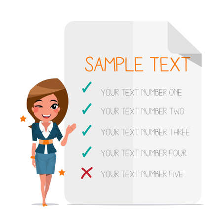 smart girl: Smart girl with choice paper background - vector illustration Stock Photo