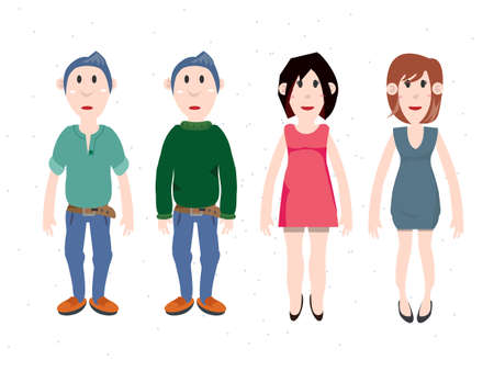 character design: character design of man and women. simple character  - vector illustration