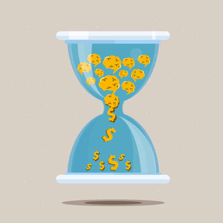 sand dollar: Hourglass with money from your brain of idea - vector illustration