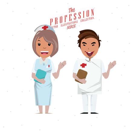 medico caricatura: Enfermera de sexo masculino y femenino - ilustración vectorial