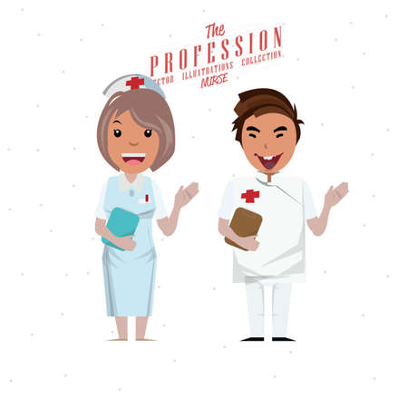 doctor isolated: Male and female nurse - vector illustration