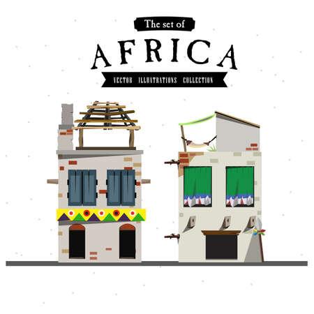 townhouses: Estilo de la casa de �frica - ilustraci�n vectorial