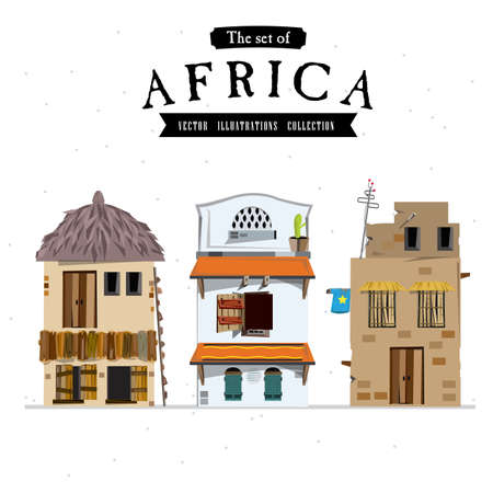 paisagem: Estilo de casa africano - ilustra Ilustração