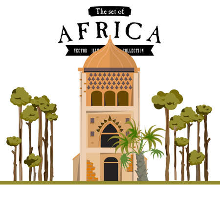 townhouses: Masjid in african style - vector illustration