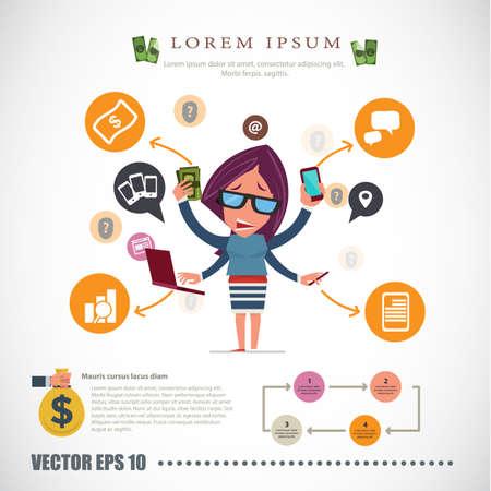 madre trabajadora: mujeres ocupadas. carácter hombre de negocios - ilustración vectorial
