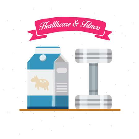 dumbell: Healthcare e Fitness. Latte con dumbell - illustrazione vettoriale