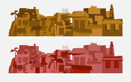 village house: Africa city background - vector illustration