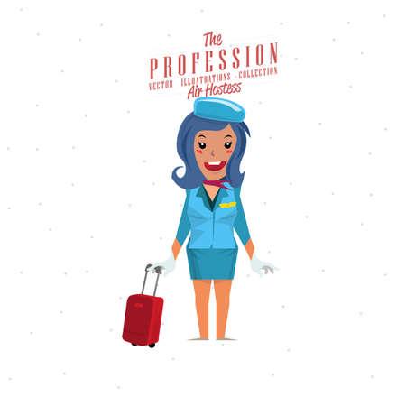 cabin attendant: Air hostess - vector illustration Illustration