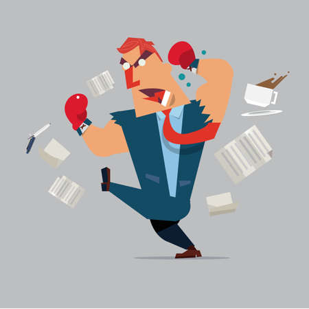 oppressive: angry boss - business man - employee - Vector illustration of cartoon