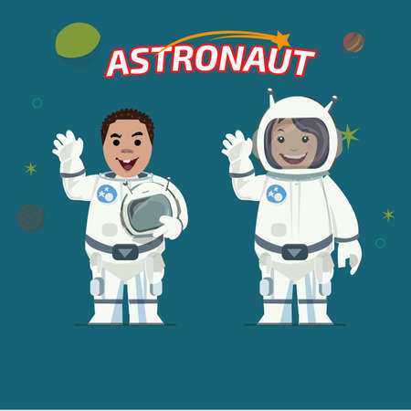 outer clothing: Astronaut male and female - vector illustration