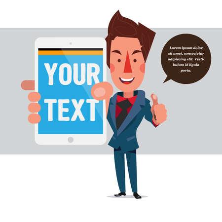 smart man: businessman with tablet. showing concept - vector illustration Illustration