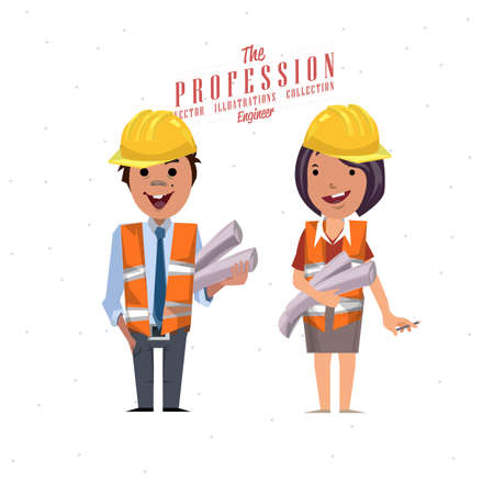 construction safety: Engineer - vector Illustration