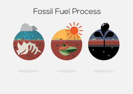 fossil fuel: fossil fuel process - icon vector illustration