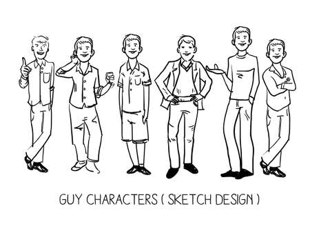 sketch drawing: man character. sketch drawing - vector illustration Illustration