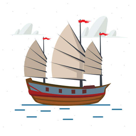 chinese symbol: Chinese ship - vector illustration