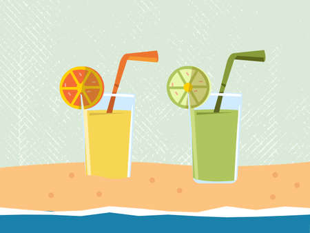 lime juice: orange and lime juice on the beach - summer - Vector Illustration