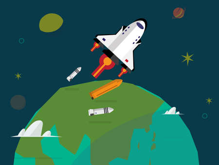 separation: Space shuttle launching and rocket separation over the earth - vector illustration