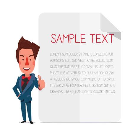 smart man: Smart man with plain paper background. - vector illustration