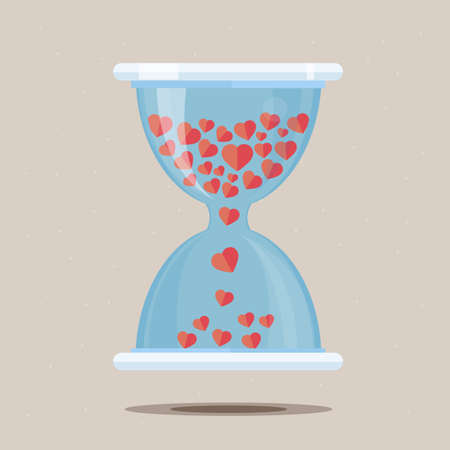 lady clock: Hourglass with heart - vector illustration