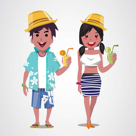 sexy young couple: man and woman on the beach. Summer. Sea. Vacation. - vector illustration Illustration