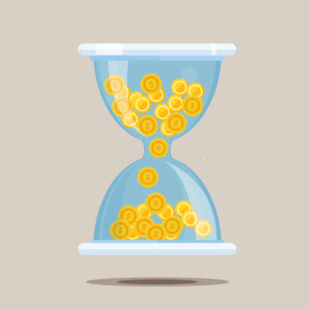 sand dollar: Hourglass with money - vector illustration