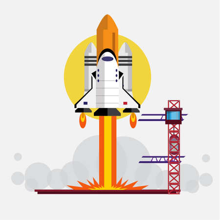 launching: Space Shuttle Launching - vector illustration