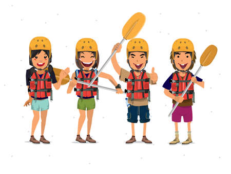 Rafting Tourist - vector illustration