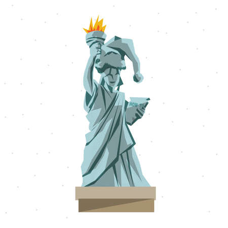 freedom woman: Statue Of Liberty in christmas theme - vector illustration