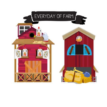 houses: Farm houses - vector illustration