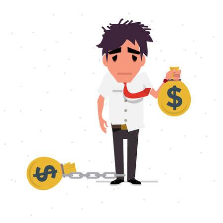 dept: dept man to chain with money bag - vector illustration Illustration