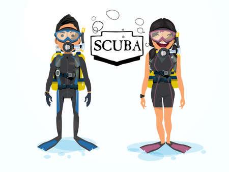 スキューバ ダイビング。男性と女性の文字 - ベクトル図