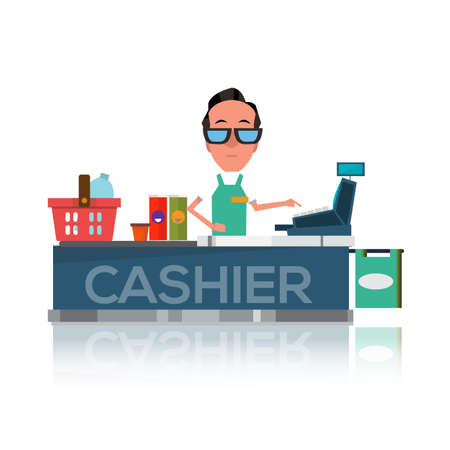 cash register: cashier man prepares purchasing at supermarket - vector illustration