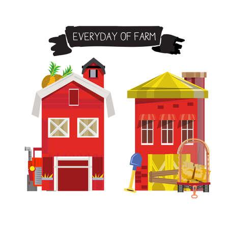 barn wood: Set of farm house - vector illustration
