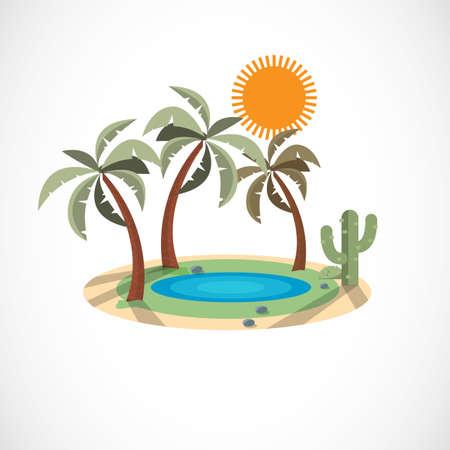 Oasis in the desert - vector illustration 일러스트